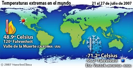 Temperaturas de la semana - 21 al 27 de julio de 2007