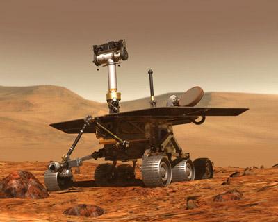 Robot explorador Oportunity en los suelos de Marte