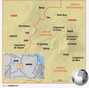 Mapa de la región de Darfur (Sudán)