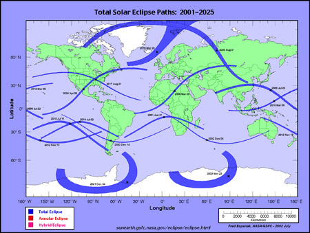 Cronograma de eclipses totales de Sol 2001-2025