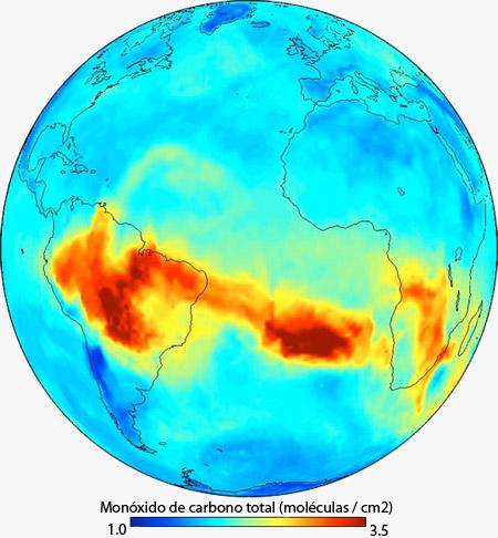 Niveles de monóxido de carbono en la atmósfera terrestre
