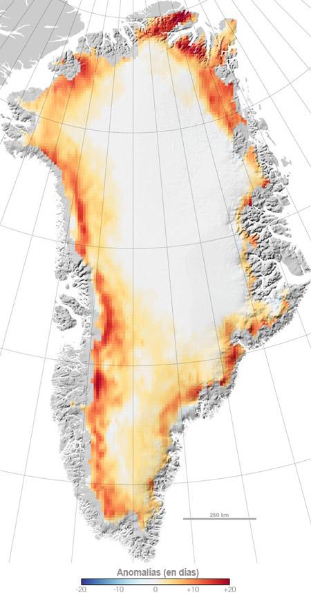 Derretimiento de los hielos en Groenlandia