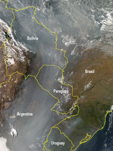 Incendios forestales en Sudamérica - Clic para ampliar la imagen