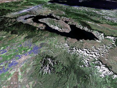 El cráter del volcán Toba, convertido en un lago en la actualidad