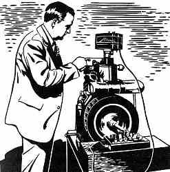 Thomas Midgley trabajando en un motor
