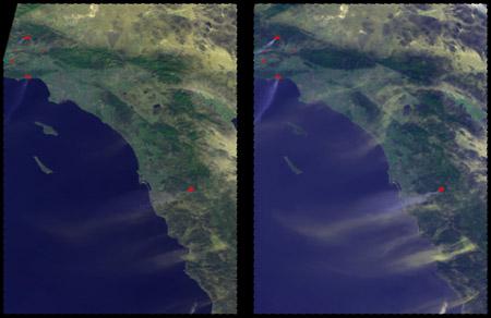 Imágenes satelitales: incendios en California