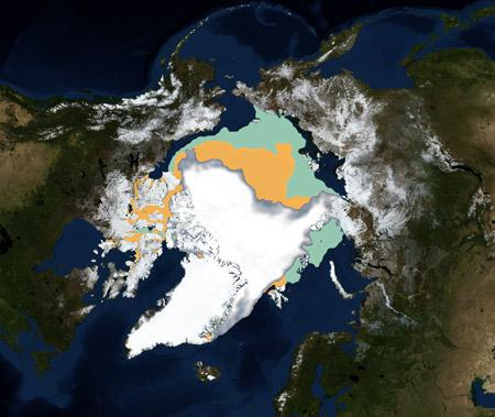 Comparación de la capa permanente de hielo en el Artico - 1979/2007