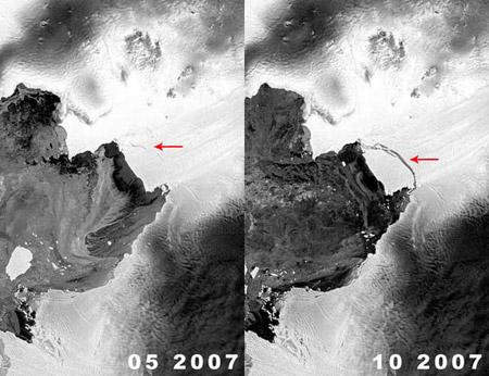 Nacimiento de un iceberg, visto desde el espacio