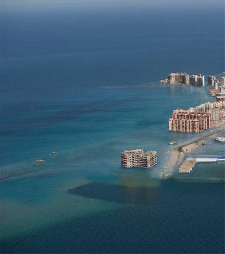 La Manga del Mar menor, Murcia, tras la subida de las aguas debido al calentamiento global
