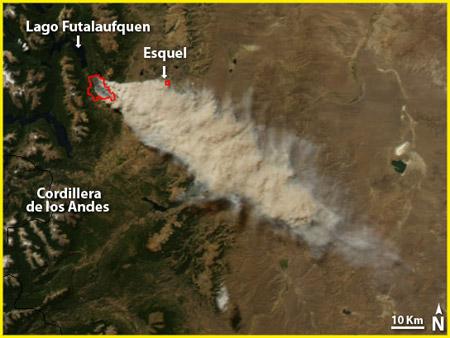 Imagen satelital: incendio forestal en el Parque Nacional Los Alerces