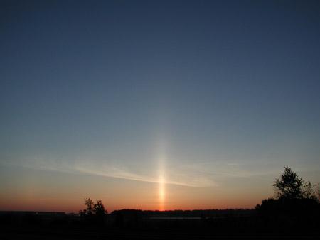 Columna de sol en New Jersey, Estados Unidos - Foto: Anita Gould