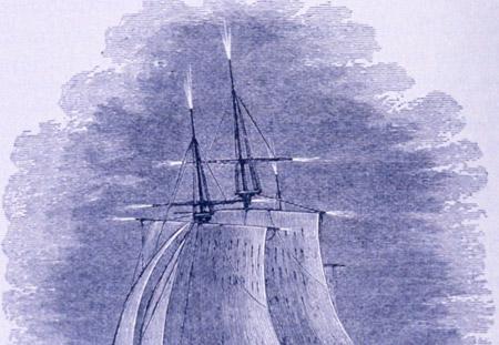 Grabado que representa al Fuego de San Telmo sobre los mástiles de un barco