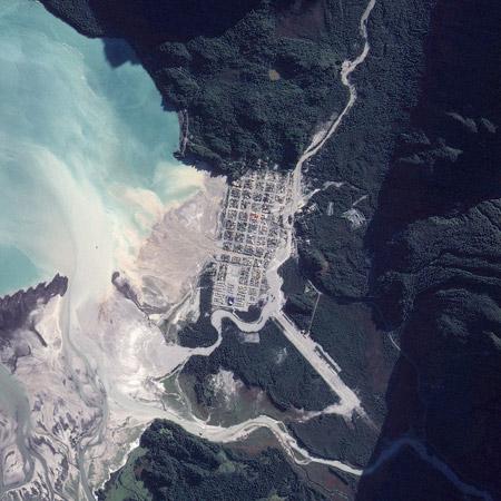 Imagen satelital: ciudad de Chaitén luego de la erupción