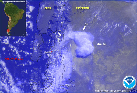 Imagen satelital: erupción del volcán Chaitén (Chile)