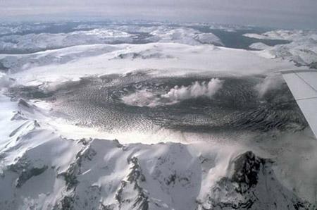 Vista aérea del volcán Hudson en la actualidad