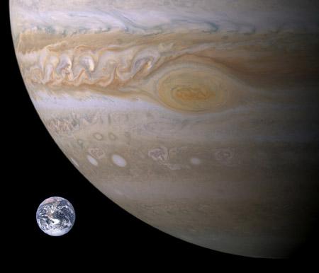 Júpiter en comparación con la Tierra