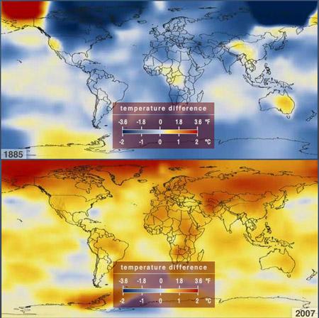 Diferencias de temperaturas globales de superficie (1885-2007)