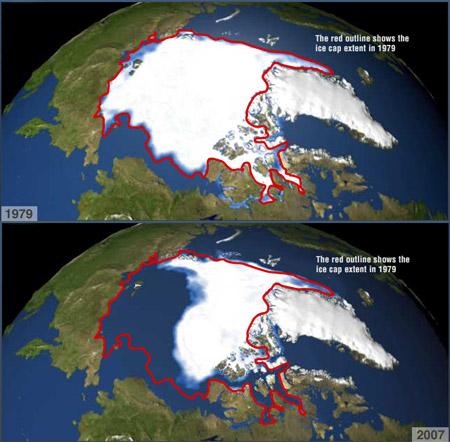 Derretimiento del hielo polar ártico 1979-2007