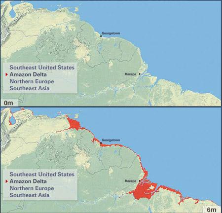 Consecuencias de un aumento de 6 metros del nivel del mar sobre el Delta del Amazonas