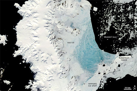 Península Antártica - imagen satelital del 13 de diciembre de 2008