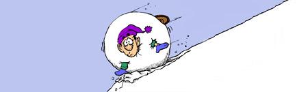 El frustrado domador de bolas de nieve gigantes