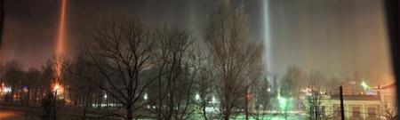 Pilares de luz en Letonia