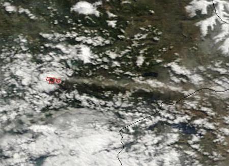 Imagen satelital - Erupción del volcán Llaima - Abril de 2009