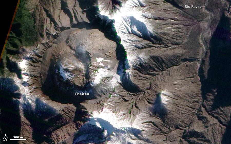satelital del volcan Chaiten