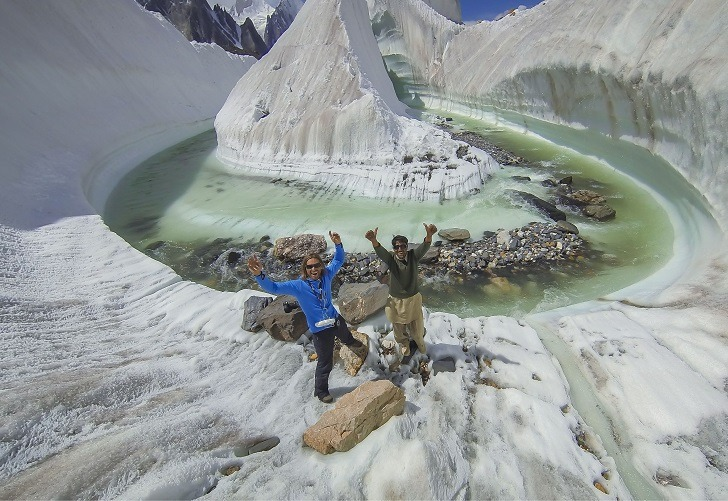 MANDATORY CREDIT: David Kaszlikowski/REX Shutterstock. IMAGES OUTSIDE OF PRINT VERSION NEWSPAPER SUBSCRIPTIONS. FEES APPLY FOR UNIQUE IPAD USE. Mandatory Credit: Photo by Kaszlikowski/REX Shutterstock (4915152x) At the heart of the Karakkorum, glacier formation found at Concordia at the very beginning of one of the longest glaciers on the planet, Baltoro. Concordia is surronded by famous 8 thousand meter peaks including K2. Incredible Drone Photos Of A Pakistan Glacier - Jul 2015 FULL BODY: http://www.rexfeatures.com/nanolink/qpnu A photographer has used a drone to take stunning photographs of a glacier in the Karakoram region of Pakistan. Polish photographer David Kaszlikowski took the breath-taking image whilst on a film expedition with HBO. For three weeks he hiked in the Himalayas at an altitude of 5,000 metres whilst working on a documentary. Whilst at the Baltoro Glacier and Godwin-Austen Glacier near K2, the second highest mountain in the world, he sent his drone on flights to scout the surrounding landscape.