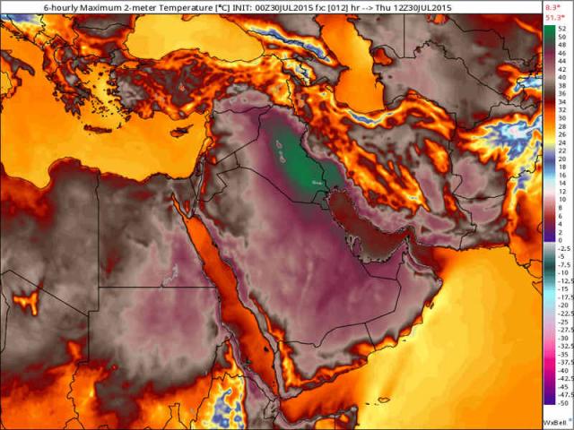 Ola de calor en medio oriente