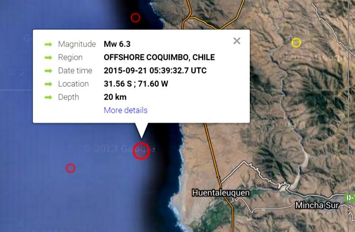 Sismo frente costas de Chile