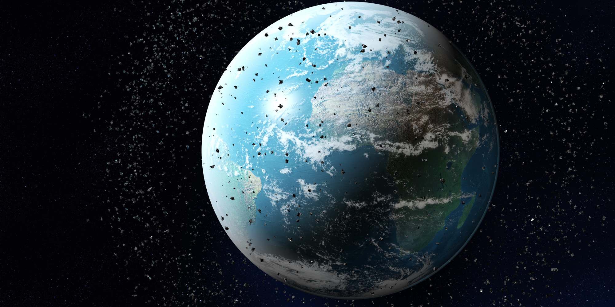 Space junk around planet earth