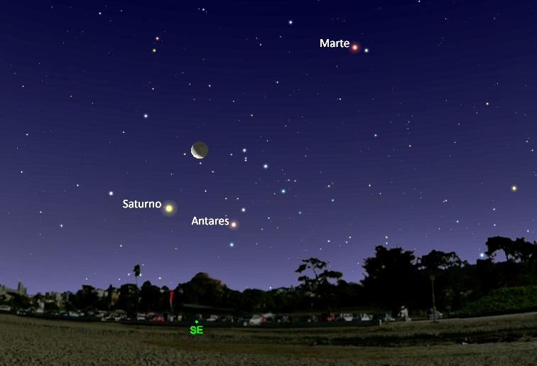 Conjunción Luna y Saturno visible antes del amanecer del 3 de febrero