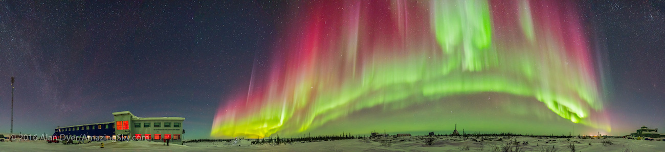 A 360° panorama of an arc of auroral curtains to the east, south and west over the old Churchill Rocket Range and the new Churchill Northern Studies Centre, Manitoba.  This was March 6, 2016 on a night with a Kp  Index of 6 to 7 for auroral activity. This is a stitch of 13 segments, each 3 seconds at f/2 with the Sigma 20mm lens and Nikon D750 at ISO 3200. Stitched in Adobe Camera Raw.
