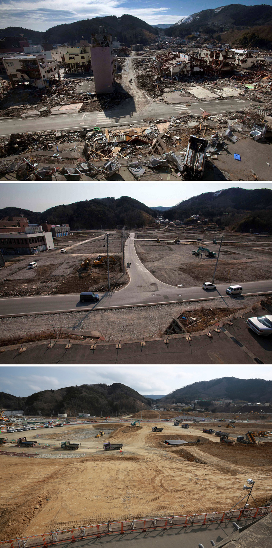 In this combination photo, two people walk along a street in a residential neighborhood in Onagawa, northeastern Japan, on March 19, 2011, top, eight days after the March 11 tsunami, two people walk on the same spot on Feb. 22, 2012, center, and a stream of trucks go through the same area on Saturday, March 5, 2016. Five years after the disaster, construction work is clearly underway but far from done. Rebuilt roads stretch to the horizon between still largely vacant expanses. It is a massive undertaking to raise the ground level of entire neighborhoods, to better protect them from inundation, before rebuilding from scratch. (AP Photo/David Guttenfelder and Eugene Hoshiko)