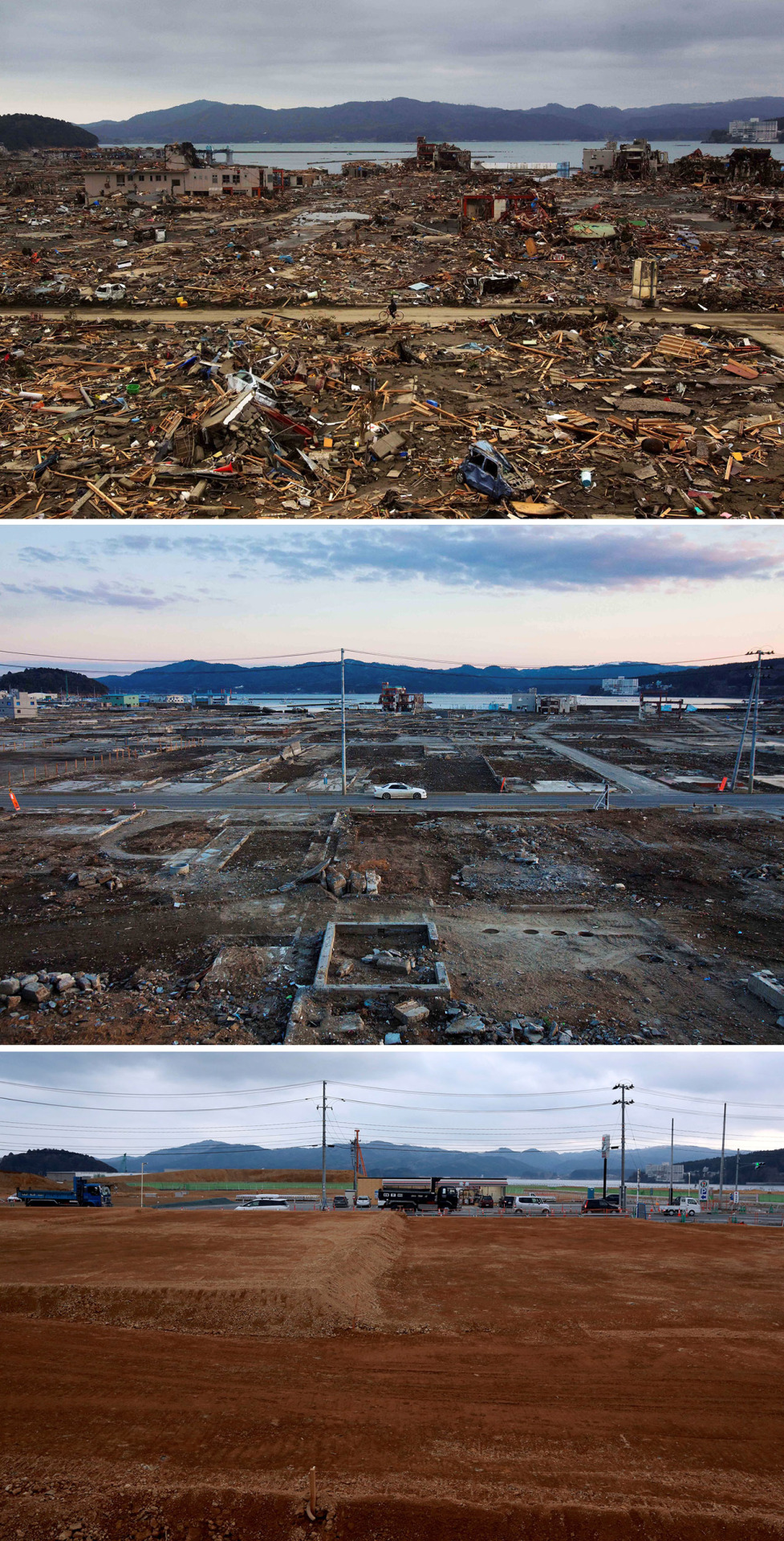 In this combination photo, a Japanese survivor of the earthquake and tsunami rides his bicycle through the leveled city of Minamisanriku, Japan, on March 15, 2011, top, a car drives through the same spot on Feb. 23, 2012, center, and trucks and cars drive through the same area on Saturday, March 5, 2016. Five years after the disaster, construction work is clearly underway but far from done. Rebuilt roads stretch to the horizon between still largely vacant expanses. It is a massive undertaking to raise the ground level of entire neighborhoods, to better protect them from inundation, before rebuilding from scratch. (AP Photo/David Guttenfelder and Eugene Hoshiko)