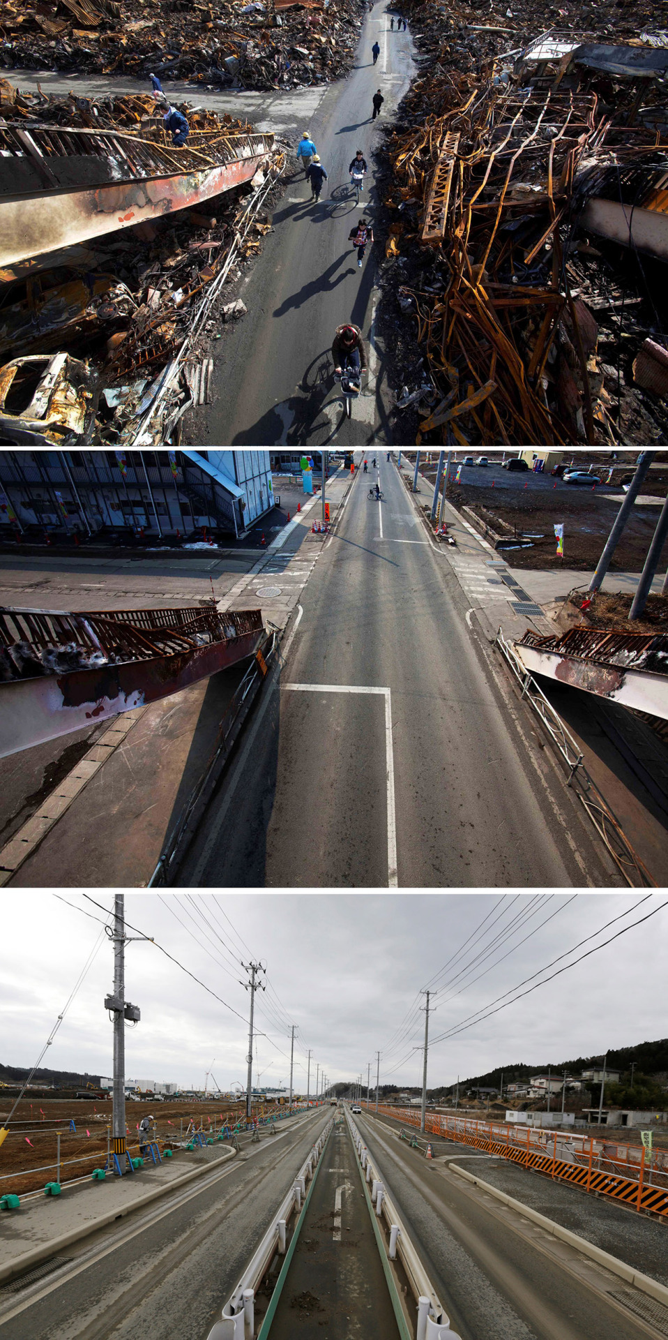 In this combination photo, Japanese residents of Kesennuma, northeastern Japan, pass through a road that was cleared by bulldozer through the ruins of the city on March 17, 2011, six days after the tsunami, top, people cross the same street on Thursday, Feb. 23, 2012, center, and a worker, left, stands at a construction site on Monday, March 7, 2016. Five years after the disaster, construction work is clearly underway but far from done. Rebuilt roads stretch to the horizon between still largely vacant expanses. It is a massive undertaking to raise the ground level of entire neighborhoods, to better protect them from inundation, before rebuilding from scratch. (AP Photo/David Guttenfelder and Eugene Hoshiko)