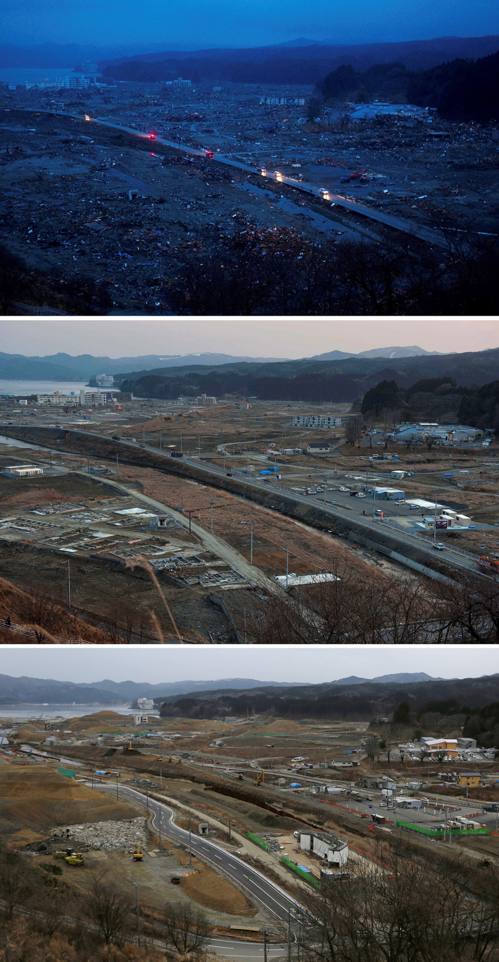 In this combination photo, Japanese vehicles pass through the ruins of the leveled city of Minamisanriku, Japan, on March 15, 2011, top, four days after the tsunami, vehicles pass through the same area on Feb. 23, 2012, center, and vehicles go through the same area under construction on Monday, March 7, 2016. Five years after the disaster, construction work is clearly underway but far from done. Rebuilt roads stretch to the horizon between still largely vacant expanses. It is a massive undertaking to raise the ground level of entire neighborhoods, to better protect them from inundation, before rebuilding from scratch. (AP Photo/David Guttenfelder and Eugene Hoshiko)