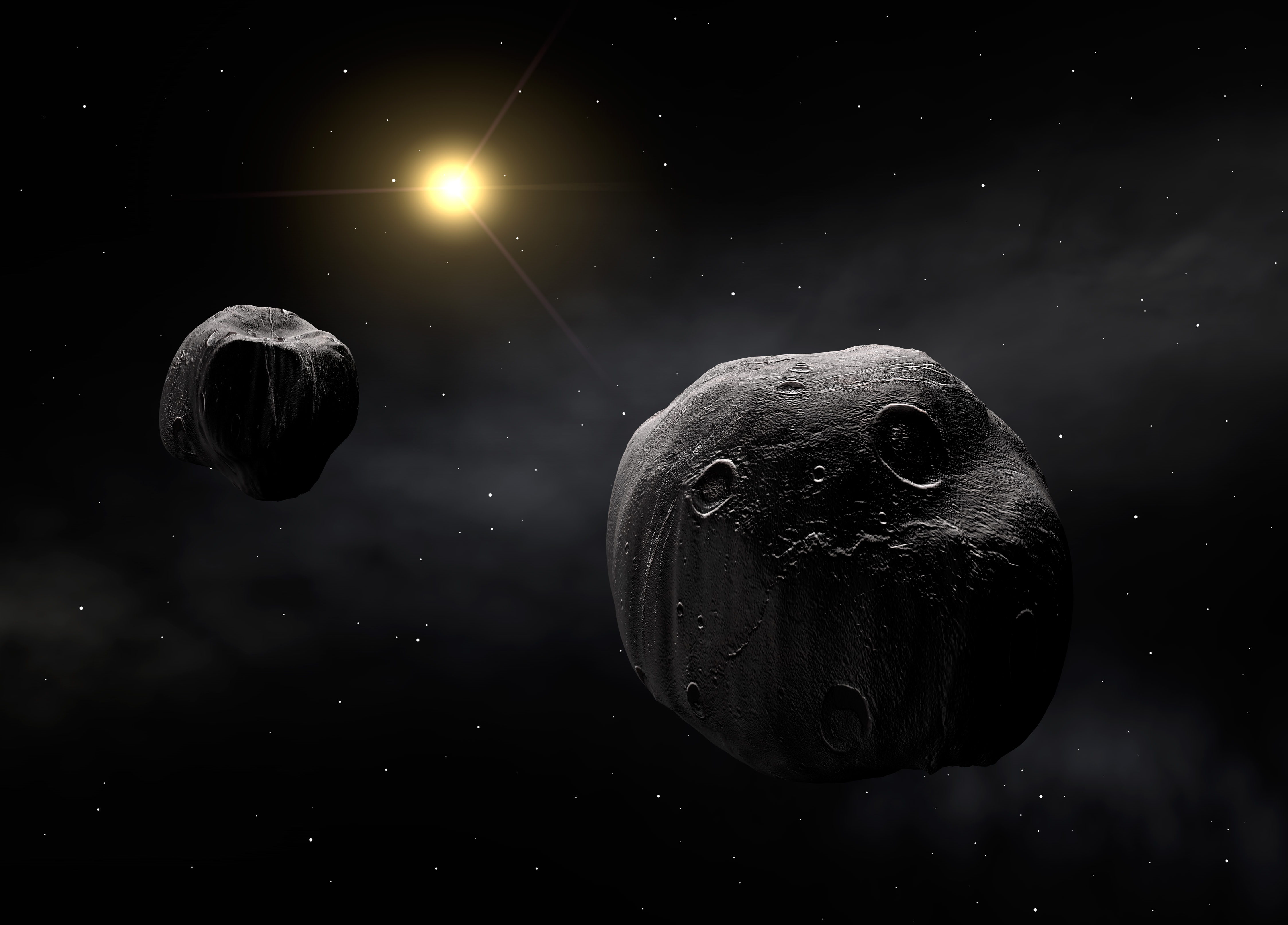 Artist's impression of the double asteroid Antiope. Both components are shown to have a quasi-spherical shape.