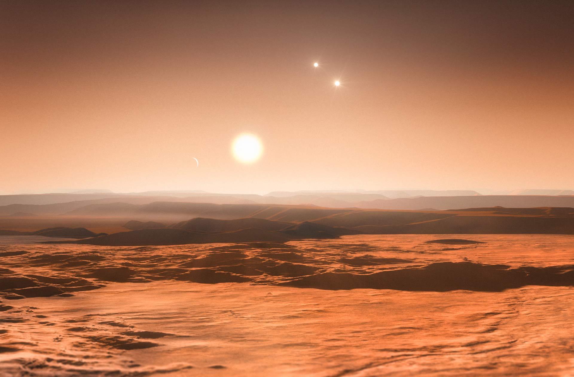 Planeta con tres soles