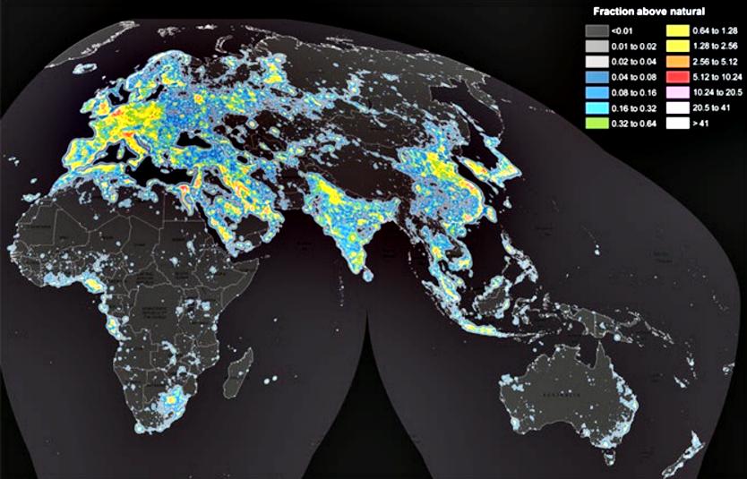 Atlas de la luz artifial en el mundo 3