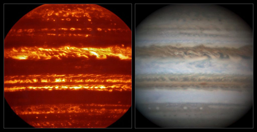 This view compares a lucky imaging view of Jupiter from VISIR (left) atinfrared wavelengths with a very sharp amateur image in visible lightfrom about the same time (right).