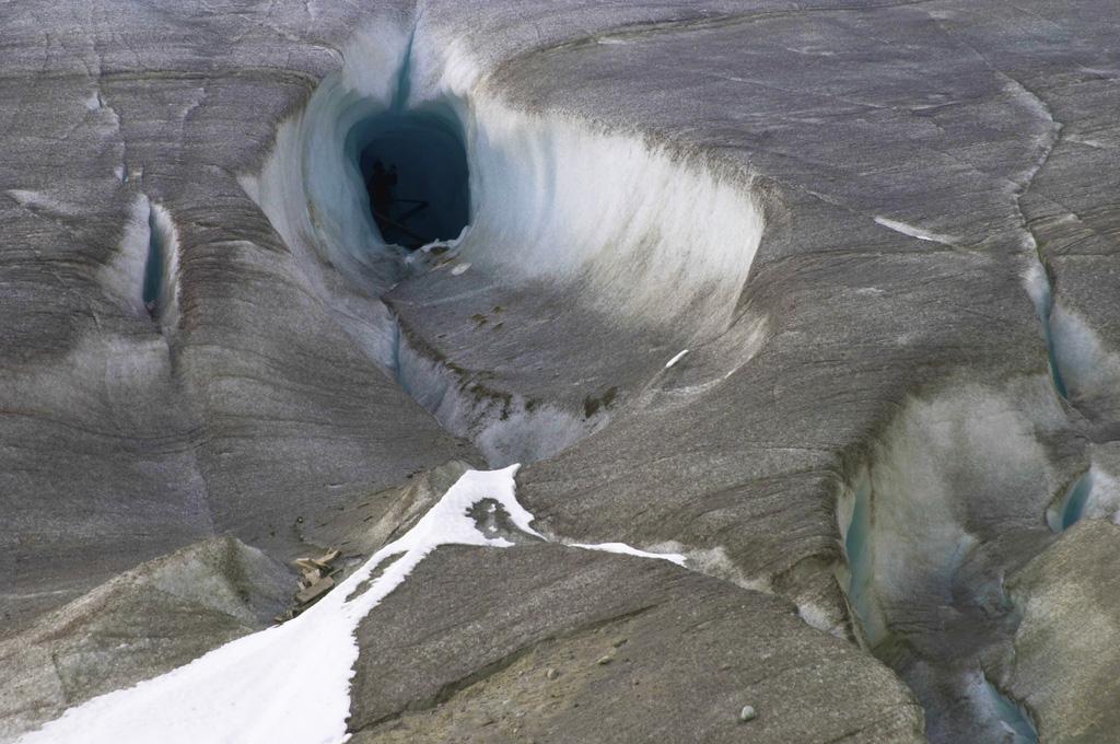 Old entrance of the ice cave (Eisgrotte am Rhonegletscher) on Furka Pass, Alps, Valais, Switzerland