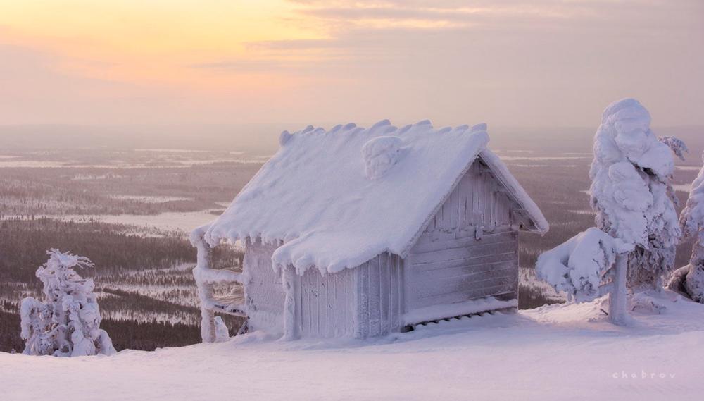 Las casas de la nieve en el  Círculo Polar