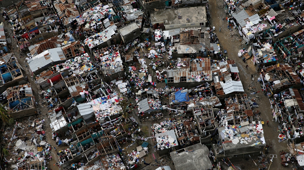 Destroyed houses are seen after Hurricane Matthew hit Jeremie, Haiti, October 6, 2016. REUTERS/Carlos Garcia Rawlins