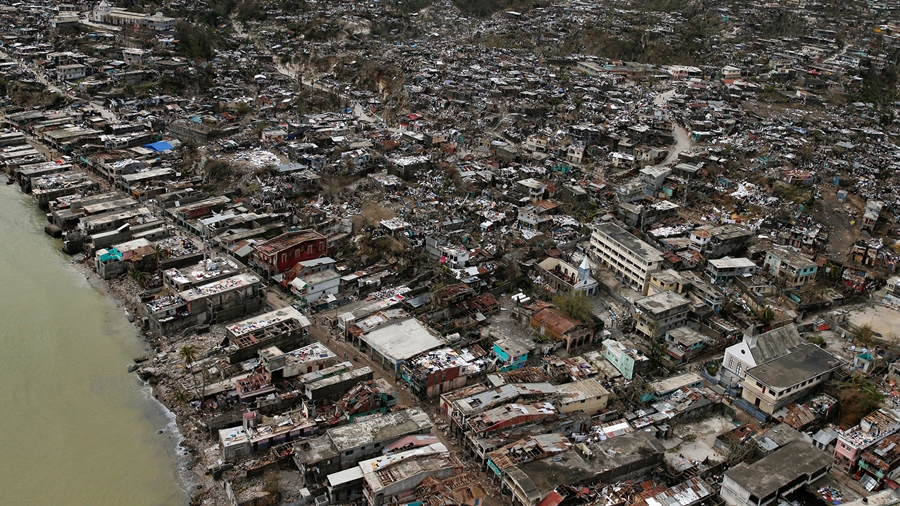 Destroyed houses are seen after Hurricane Matthew hit Jeremie, Haiti, October 6, 2016. REUTERS/Carlos Garcia Rawlins     TPX IMAGES OF THE DAY