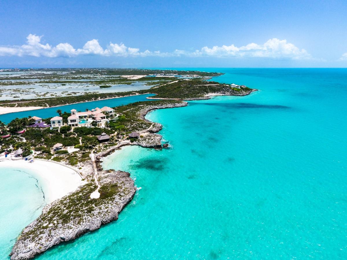 Vista panorámica de las playas de Isla Providenciales